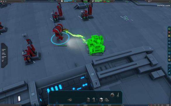The commander unit in Planetary Annihilation creating an energy collector.