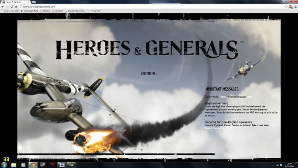 Heroes and Generals Login Screen