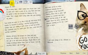 Max's diary including her quirky sketches and stickers.