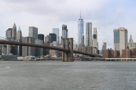 Southern Manhattan behind Brooklyn Bridge